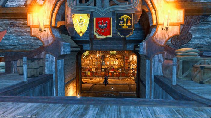 ウルヴズジェイル係船場の船への入り口。戦果交換のカウンターが見える