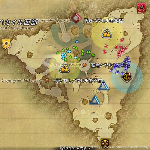 オンサルハカイルで各国のプレイヤーがそれぞれで固まって行動していることがわかるマップの切り抜き
