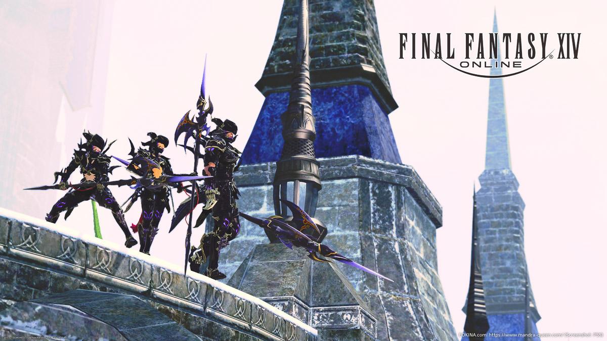 3人の竜騎士がイシュガルド調建造物上に立っている