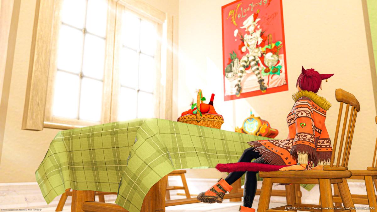 ハウジング室内の明るい部屋(チェッククロス・ダイニングセット他)