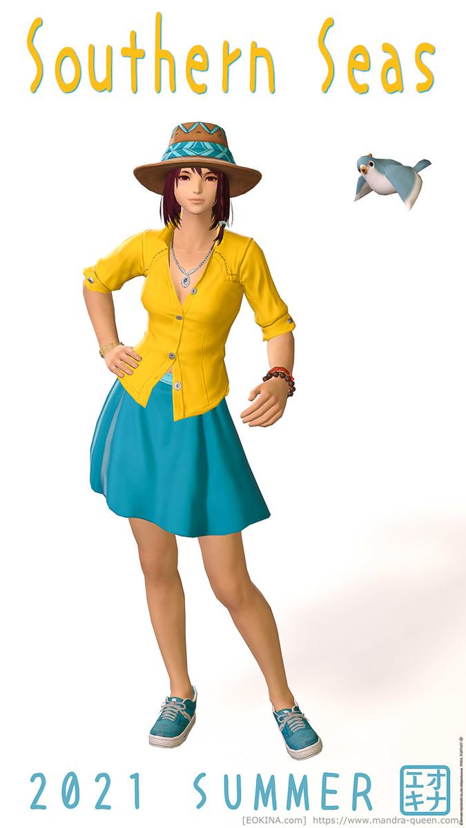 サマーインディゴシャツとサザンシースカートを使った夏服ミラプリ