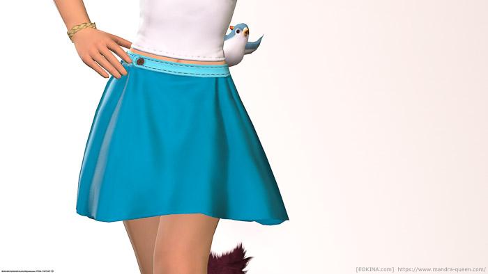 ターコイズブルーに染色したサザンシースカートを身につけたミコッテ