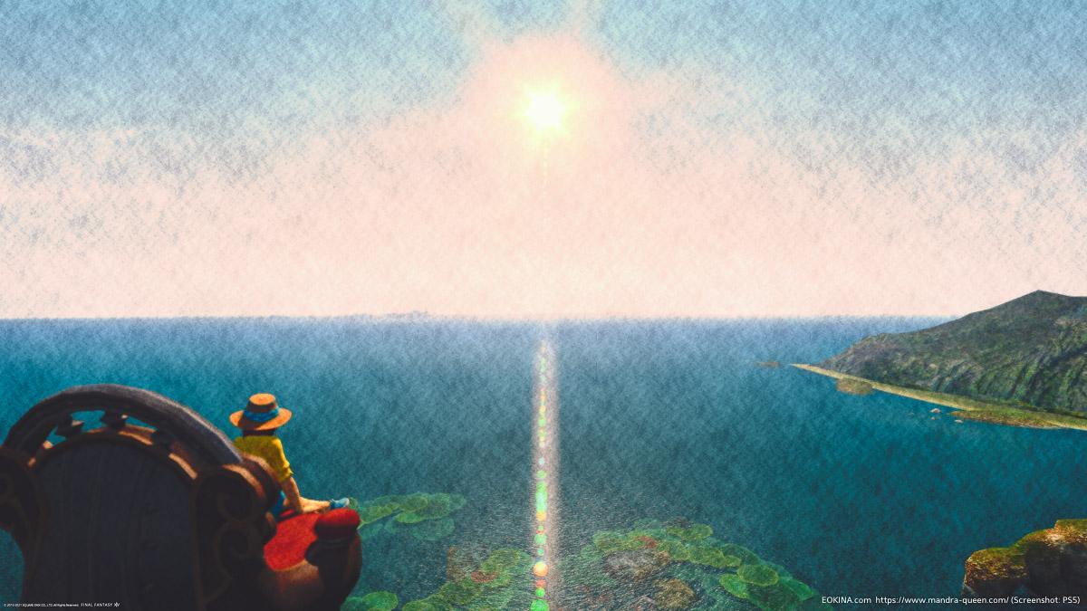空の上から東ラノシアの海を眺めるミコッテ