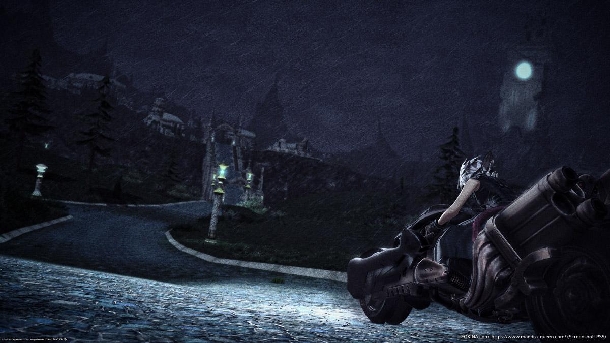 激しく雨の降る夜に、SDSフェンリルで走るミコッテ
