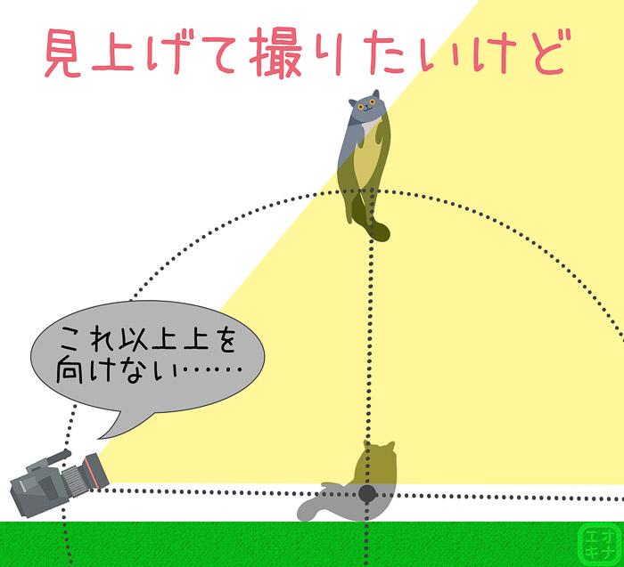 カメラの向きを上にするものの、さらにキャラクターの位置が高いと画面に入らないことの図説