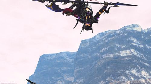 グルポ中「勝利を喜ぶ」で飛んでいる竜騎士を、キャラクターを選択した状態で撮影したSS。キャラが小さく一部切れてしまっている。