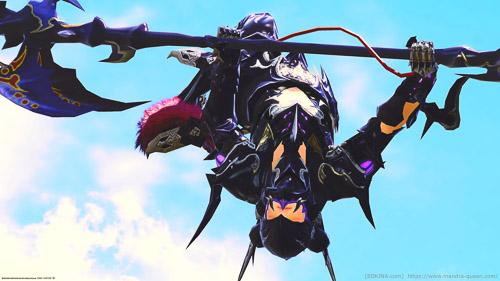 グルポ中「勝利を喜ぶ」で飛んでいる竜騎士を、手前に置いたミニオンを選択した状態で撮影したSS。キャラを中央に大きく写すことが出来ている