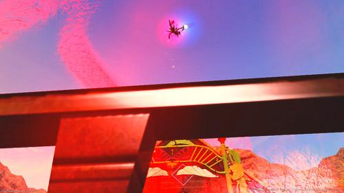 グルポで「スターダイバー」撮影中、キャラクターを選択したまま下から見上げて撮影。キャラがとても小さい