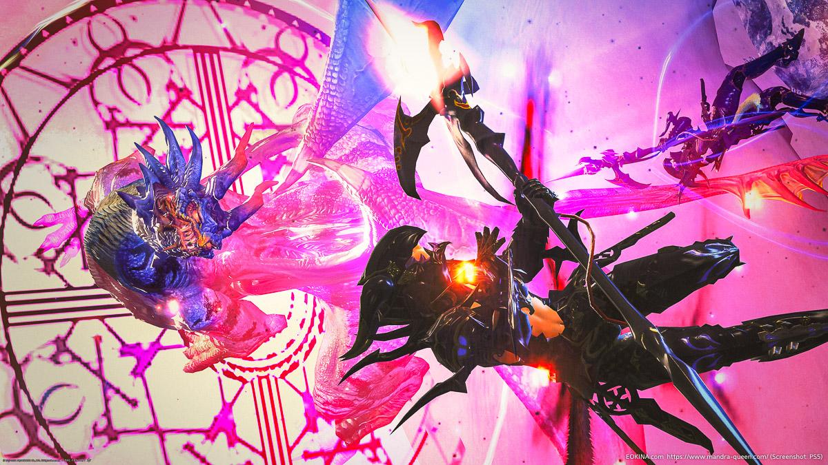 モンスターを含め、竜騎士のアクションを使って、2人で空中撮影したSS(ドラケン/ゲイボルグ)