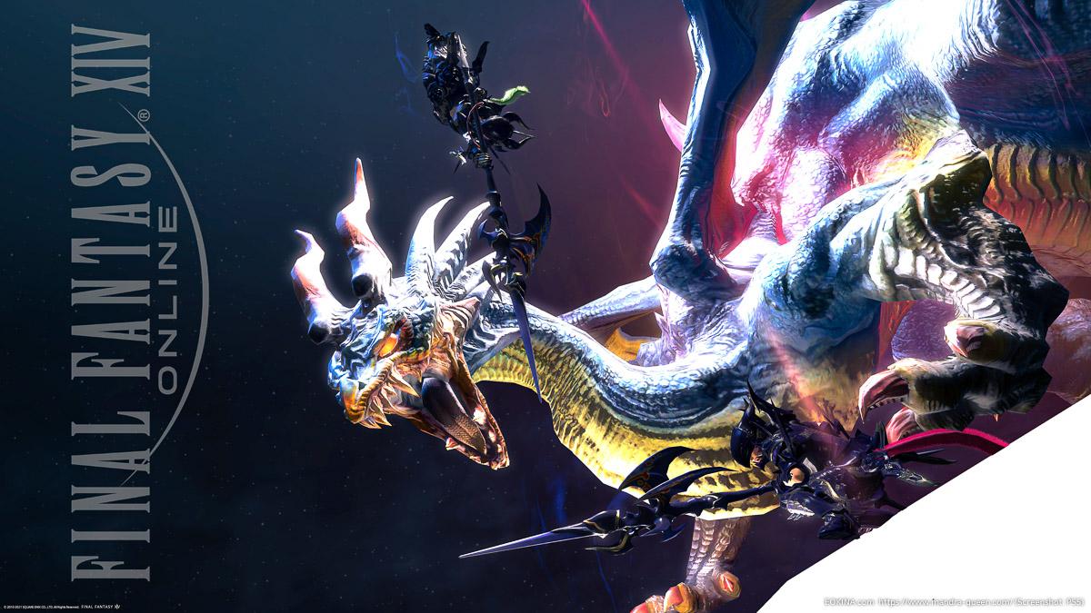 2人の竜騎士がドラゴンと戦っているところ(ドラケン/ゲイボルグ)