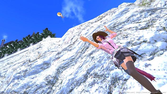 崖の上から飛ぶもう1人の人と2人で写ったSS