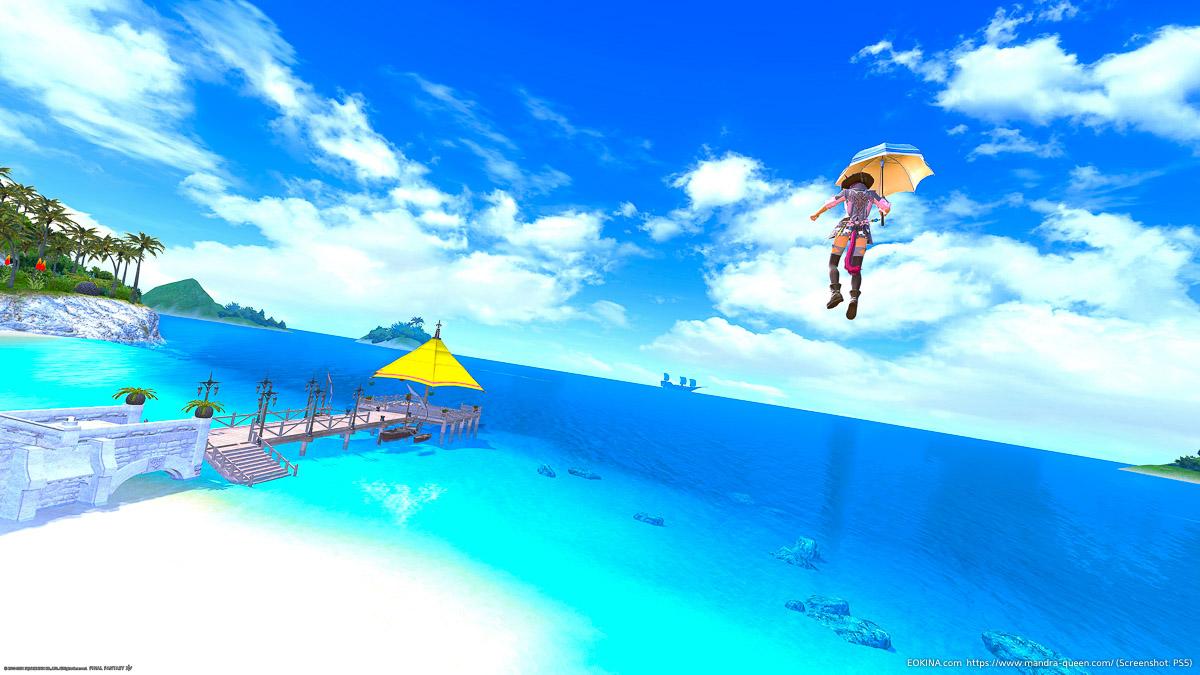 ミスト・ヴィレッジの青空をパラソルで飛ぶミコッテの後ろ姿
