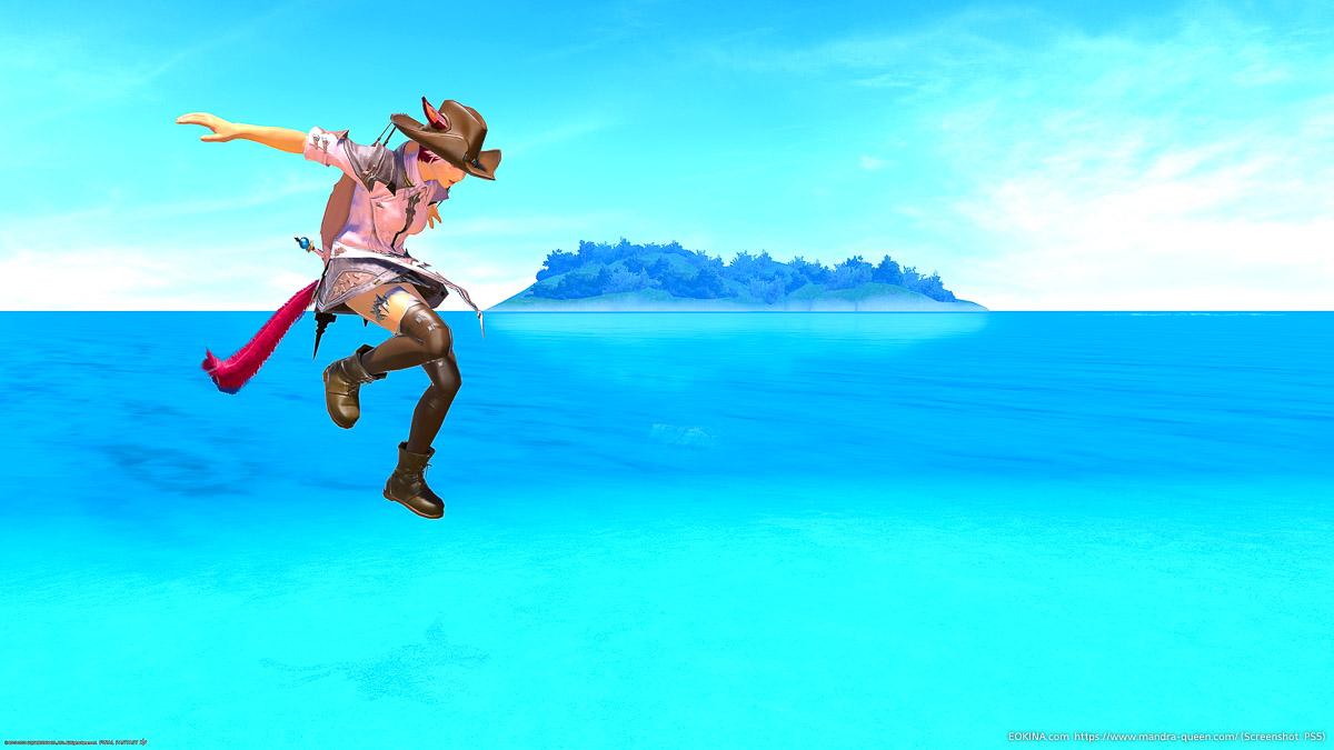 水中からジャンプして空中に浮いている瞬間を撮影したSS。ミコッテ