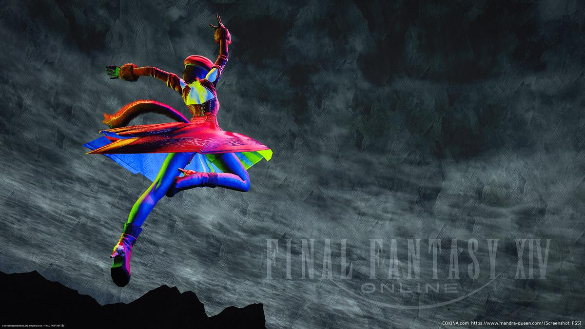 踊り子のアクション「剣の舞い」を空中で撮影したSS(ヨルハ五一式軍装:射/ニーア/複製サレタ工場廃墟)