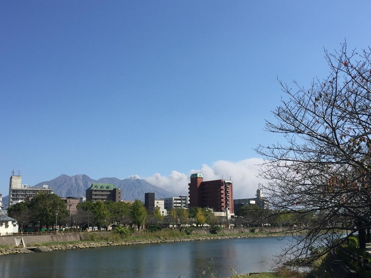 甲突川から臨む桜島