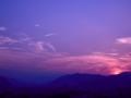 [scene]日没と飛行機雲
