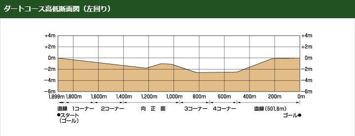 東京競馬場ダートコース高低断面図立体図(左回り)