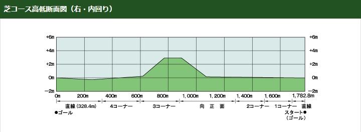 京都競馬場芝コース高低断面図立体図(右内回り)