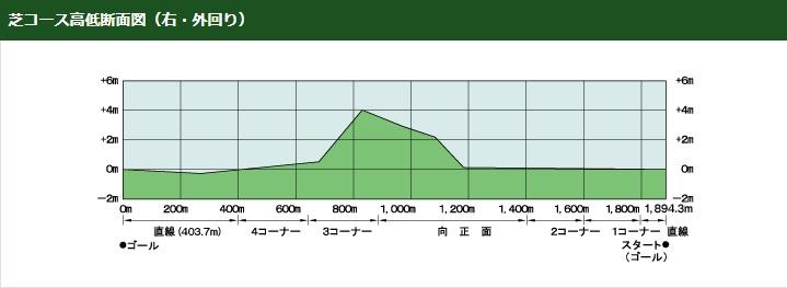 京都競馬場芝コース高低断面図立体図(右外回り)
