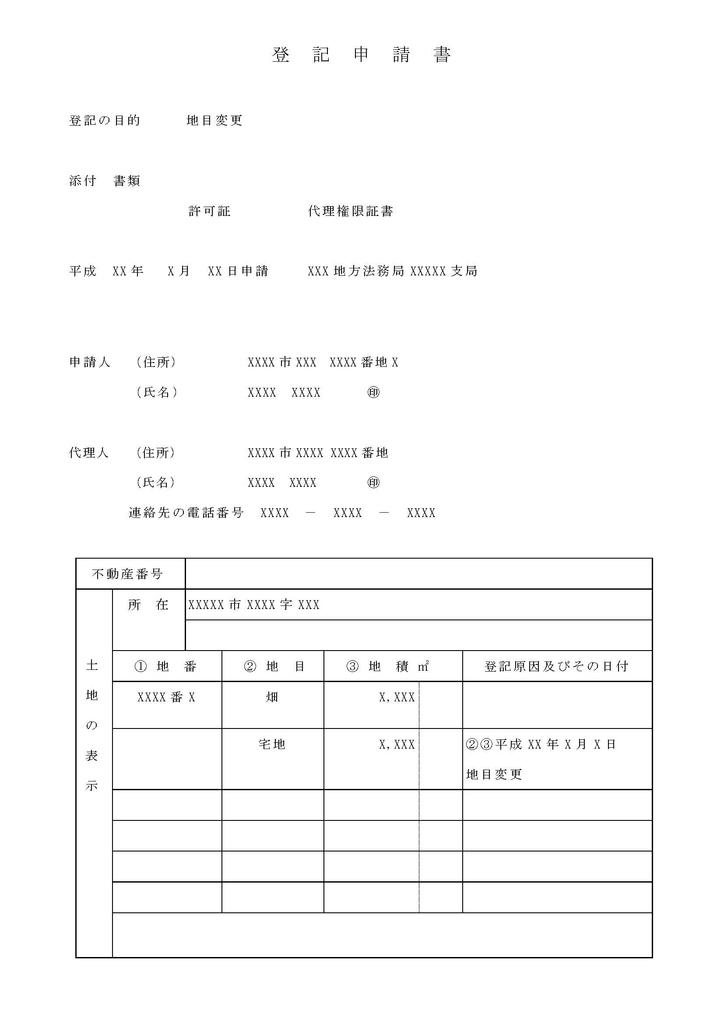 地目変更登記申請書の記載例