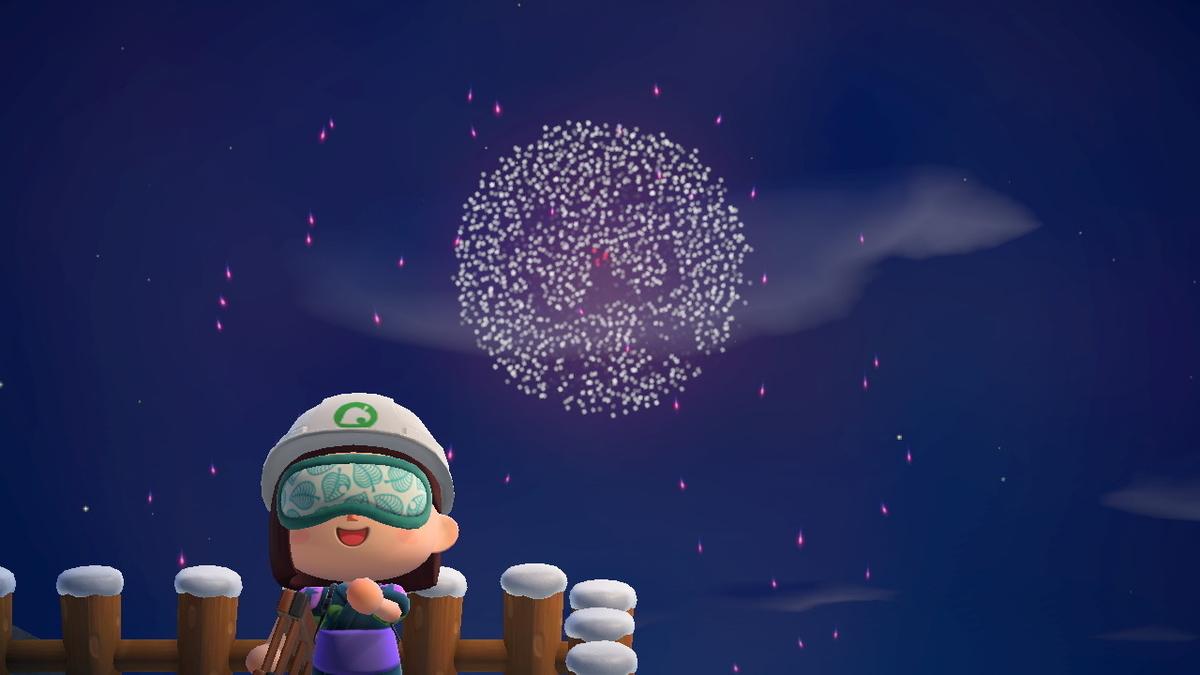 あつまれどうぶつの森 打ち上げ花火、近くで見るか、遠くで見るか・・の画像