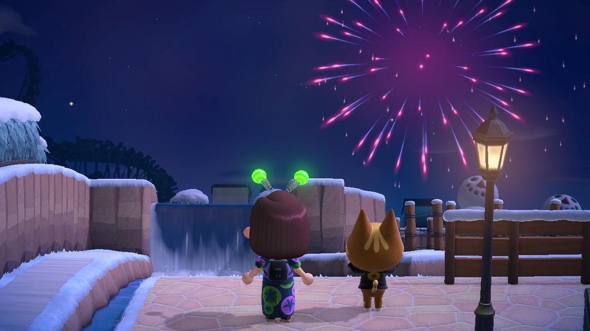 あつまれどうぶつの森 打ち上げ花火、近くで見るか、遠くで見るか・・の画像1