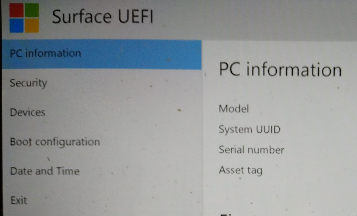 Surface UEFI