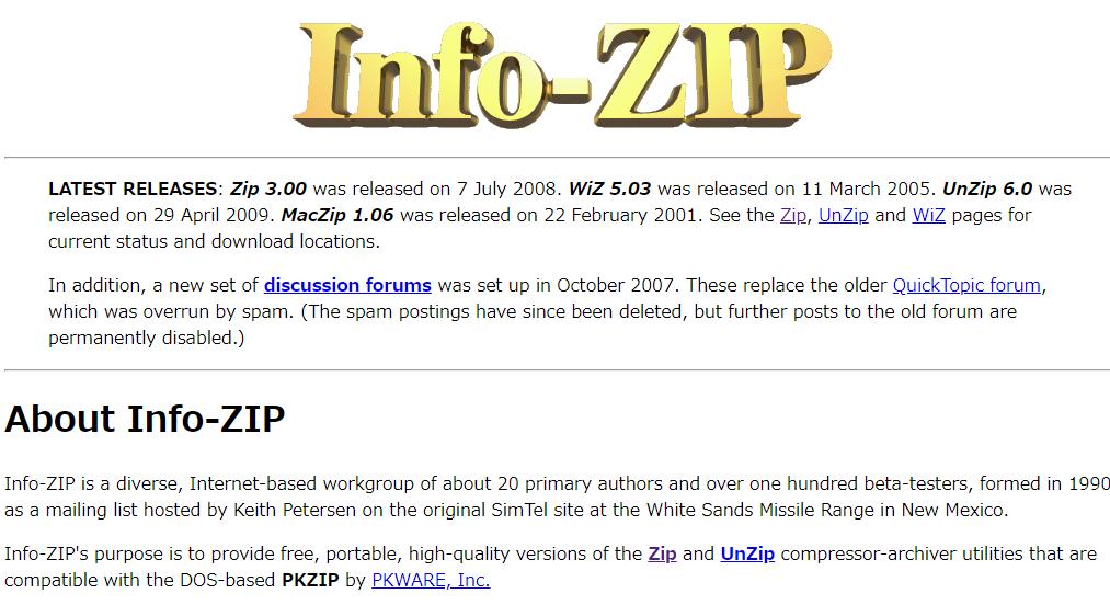 右下のUnZipのリンクにアクセス