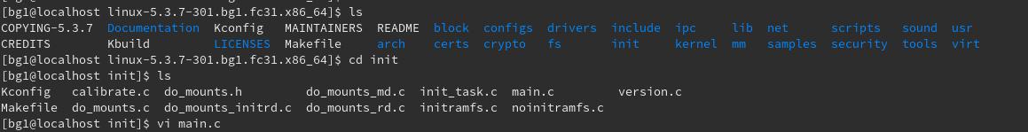 init/main.cを編集。