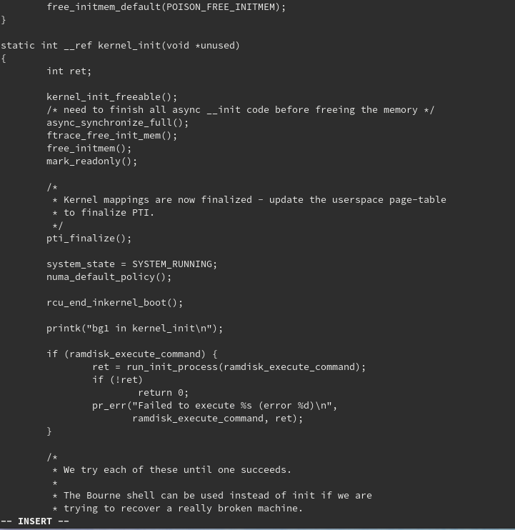 "kernel_init関数の中で、printkで""bg1 in kernel_init""と出力。"