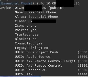 infoのあとにBluetoothアドレス(先頭何文字か入力してあとはタブ補完が効く)で状態が見れる
