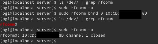 rfcommコマンドで/dev/rfcomm0とBluetoothアドレスを紐づける