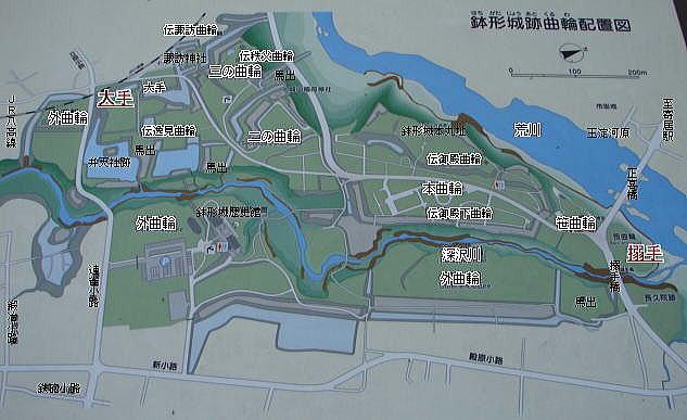 【鉢形城跡曲輪配置図(現地案内板より)】