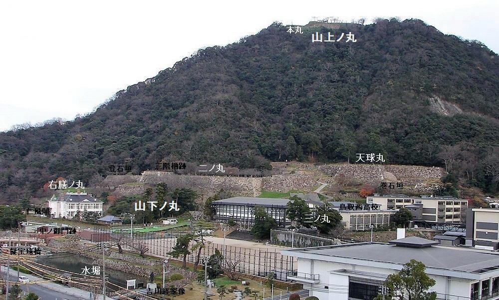 久松山きゅうしょうざんの山麓(山下ノ丸)と山頂(山上ノ丸・標高263m)に城跡がある。(鳥取県庁から望む)