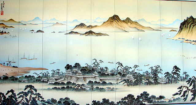 ■JR三原駅正面に飾られた三原城レリーフ