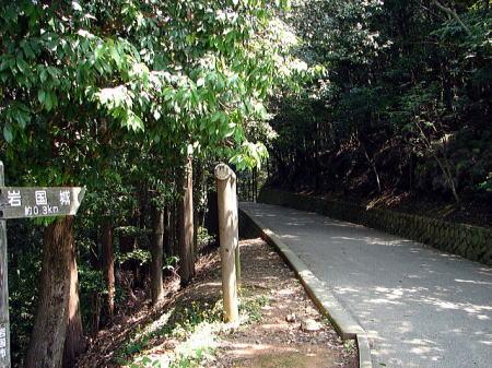 天守へ至る道 搦手側の道で、この先には大釣井・空堀がある。