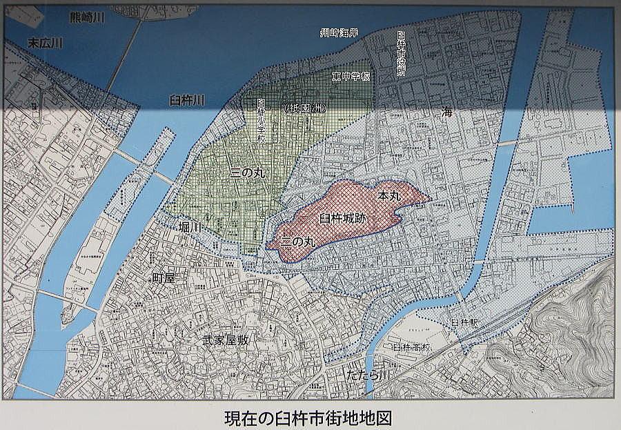 現在の臼杵城周辺図