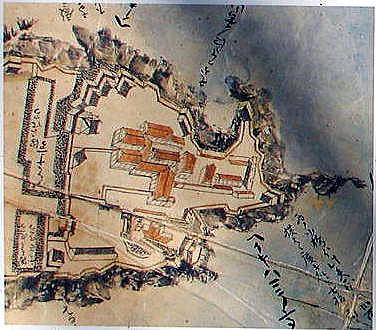 臼杵城絵図 本丸部分拡大(1636~1660)