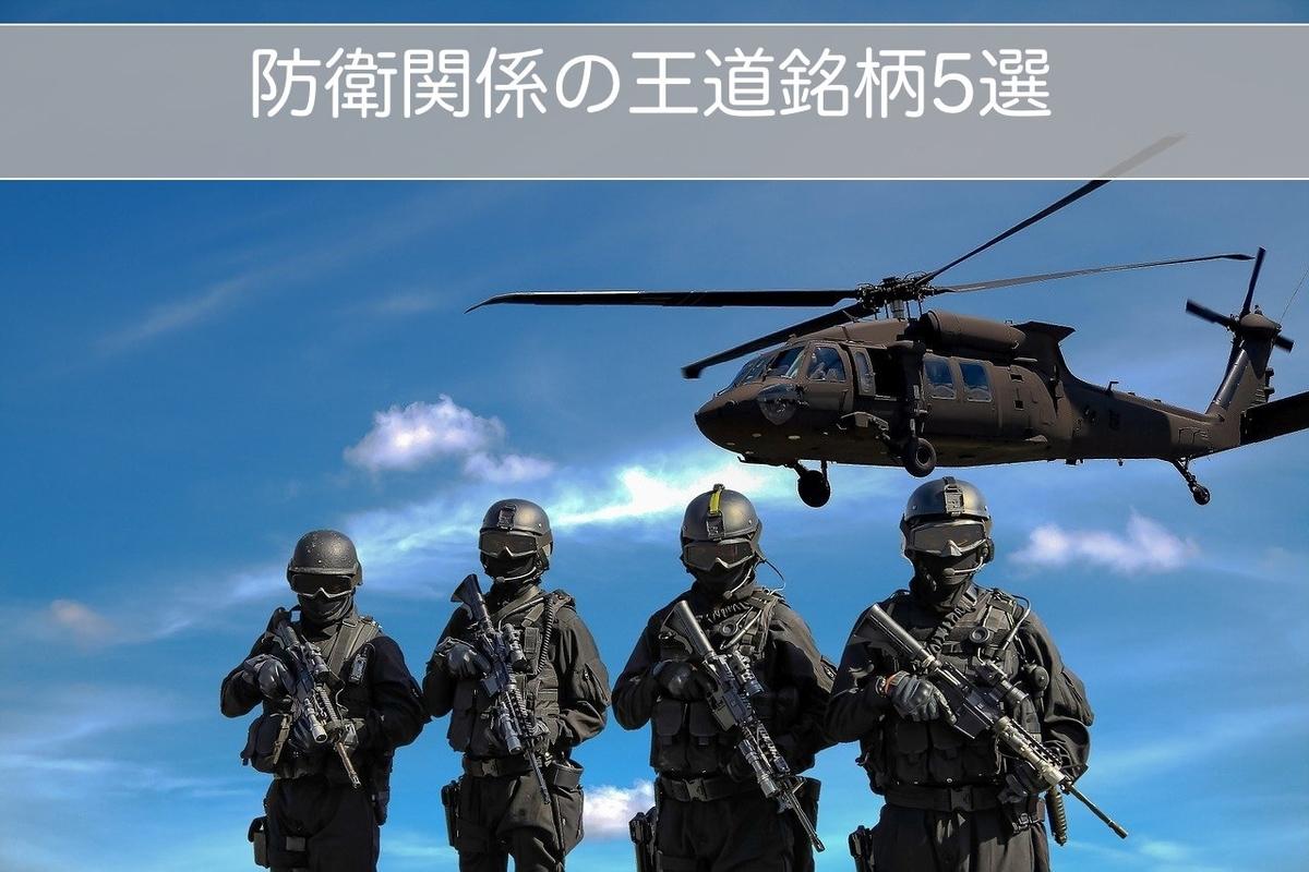 この画像はタイトル画像で防衛関係の王道銘柄5選についての記事です。