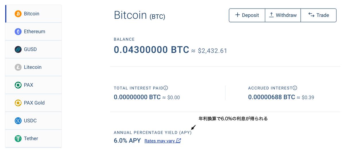 この画像は自身のビットコインを預け入れして表示されたページの写しです。