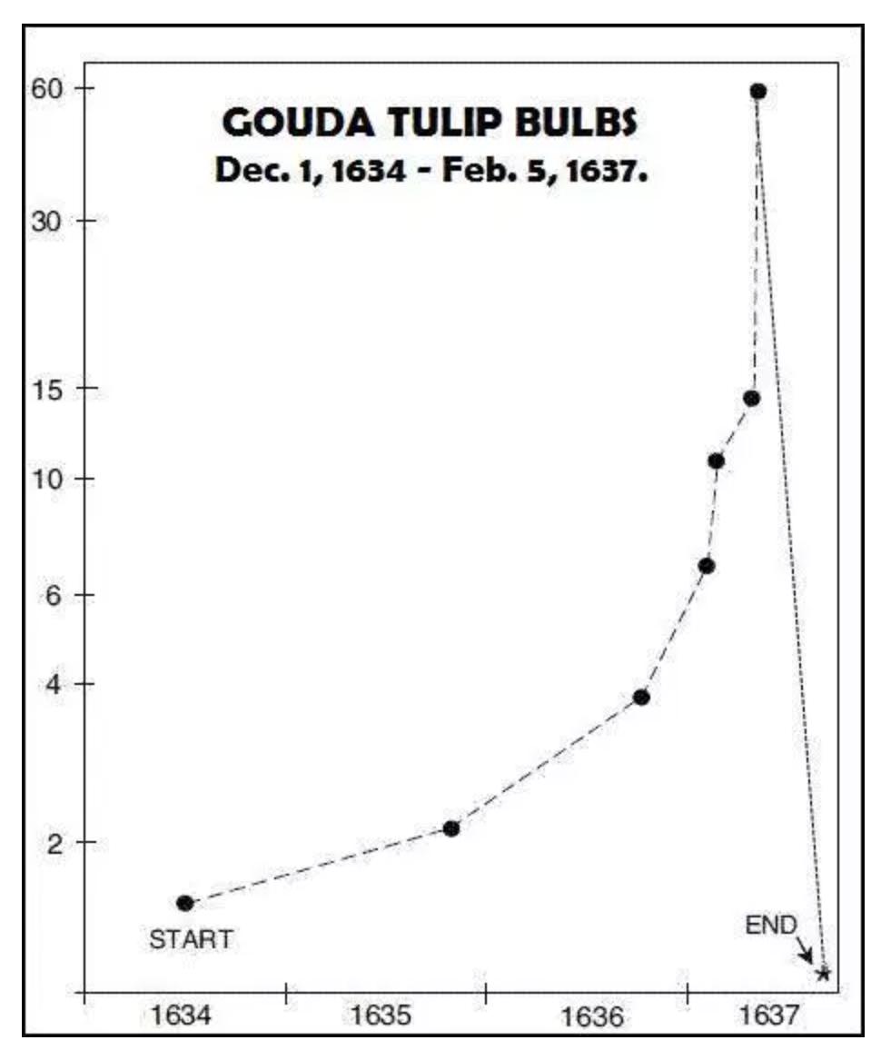 この画像はチューリップ・バブルの騰落状況をグラフで表しています。