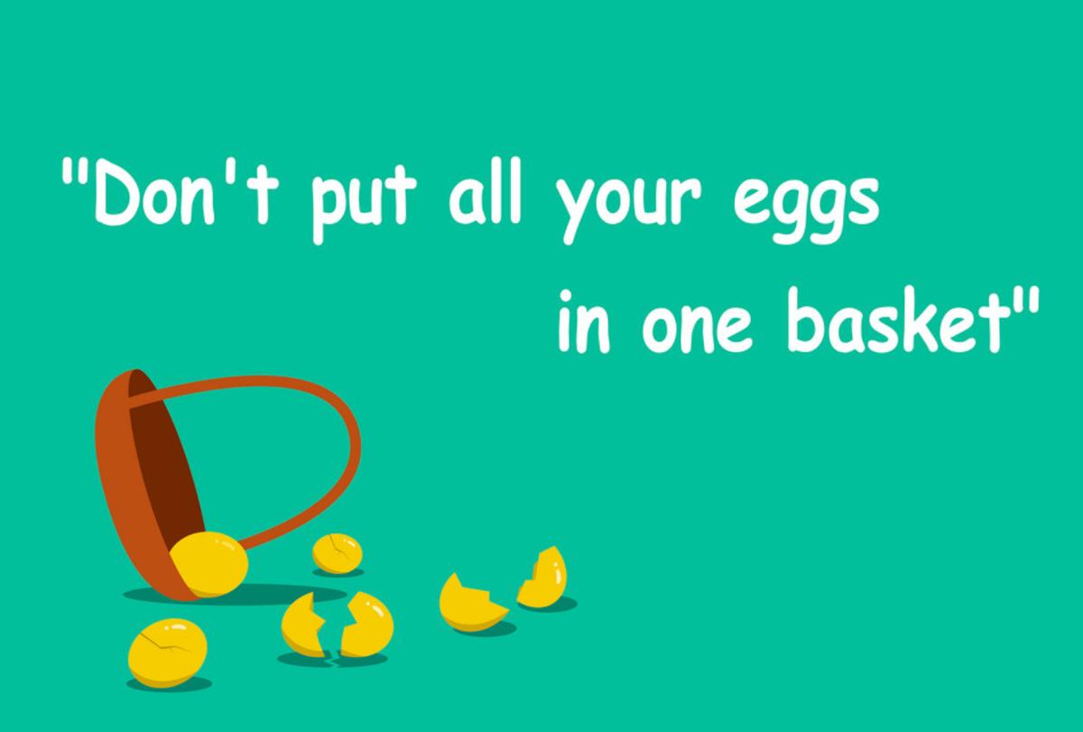 この画像は卵は1つのカゴに盛るなの画像です。