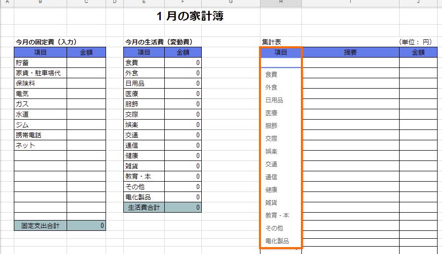 SUMIFの集計ミスをさせないために項目をプルダウンリストで選択式にする