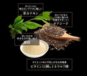雑穀麹の生酵素の有効成分である茶カテキン、チアシード、酵母の写真