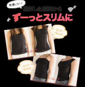女性が着るだけイージースリムを実際に着て、効果を紹介している写真。