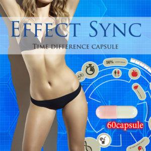 ダイエットサプリのエフェクトシンクカプセルと、それを飲み、痩せた女性のメリハリのある綺麗な体の写真。