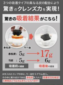 ダイエット食品の黒汁(KUROJIRU)に含まれている赤松炭という成分は、油を吸着する力があるということを示す実験写真。