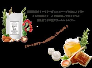 クレムドアンミルククリームシャンプーのパッケージと、配合成分のハチミツなどの絵の写真。