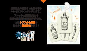 クレムドアンクリームクレンジング、メイク落としジェルのパッケージは、使い切りになっており、清潔に使え、綺麗なお肌へと導く効果があることを説明している写真。