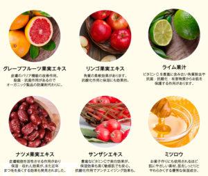 クレムドアンミルククリームクレンジングに配合されている、6種類の果物の写真。
